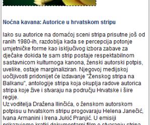 24.10.2014: emisija/ hrt1/ noćna kavana ~ ženske autorice u stripu